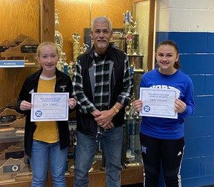 8th Graders Izzy Torres & Abby Stover with Rick Skeeters