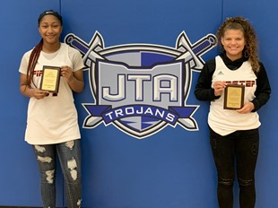 JTA 8th Graders Kayla Harper and Jerica Johnson, 2019 HMSAC All-Tournament Team Members