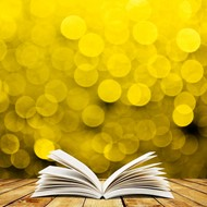 Image of book in yellow light