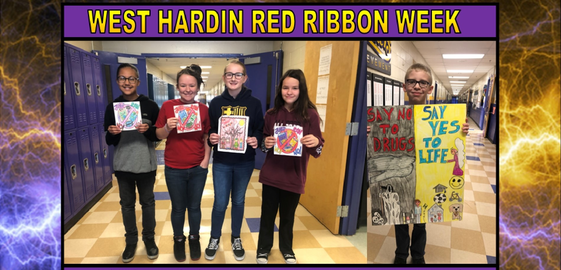 Red Ribbon Week Coloring & Poster Contest Winners (L-R): Alyzah Nation; Layla Stallins-Tucker; Abby Van Den Berg; Molly Spiers & Bruce Mowen.