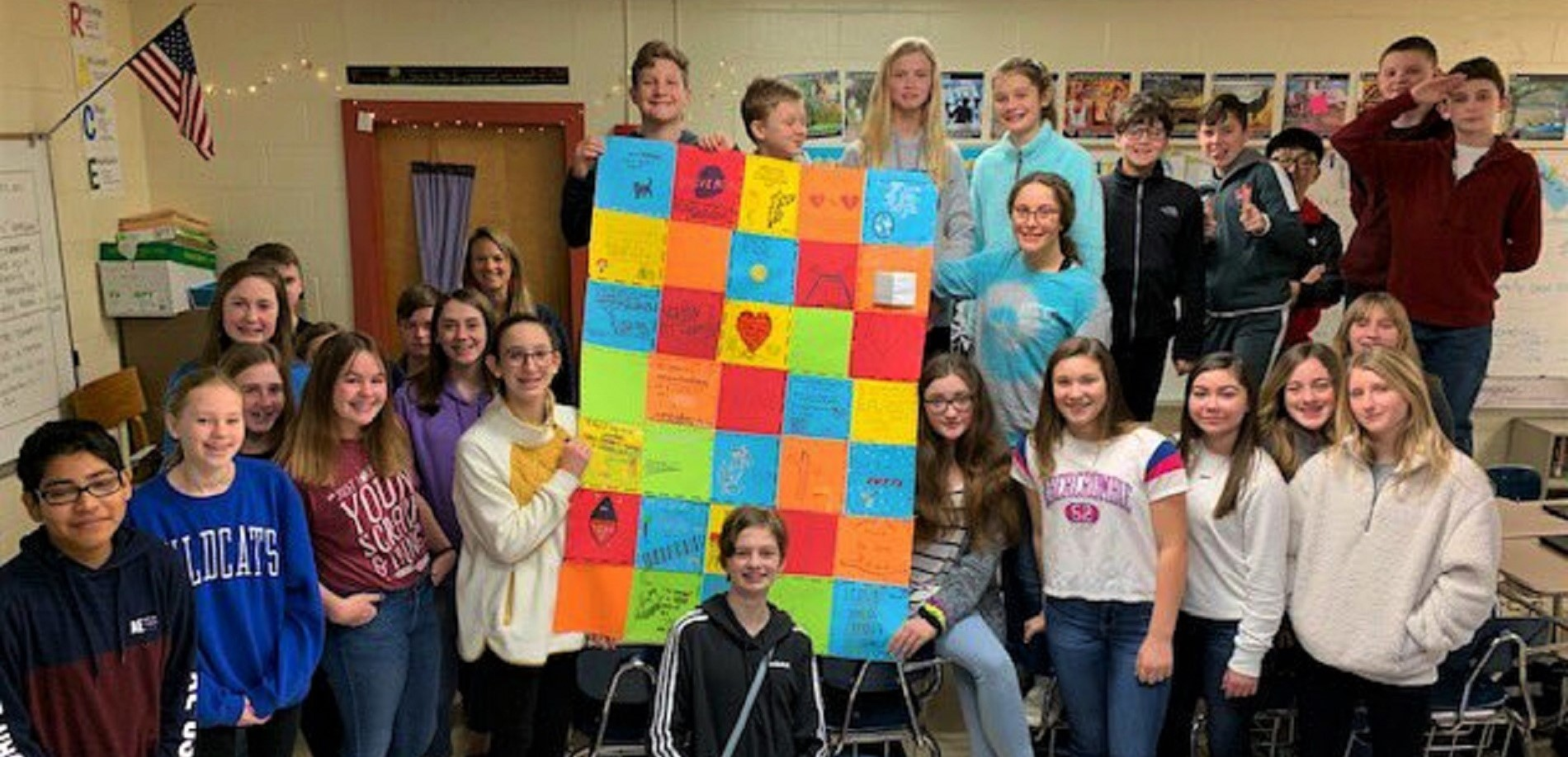 Mrs. Tabor's Language Arts class at East Hardin Middle School has been reading Moon Over Manifest and they created a Victory Quilt ... just like in the book!