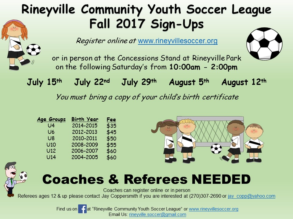 Rineyville Soccer Tryouts for Fall 2017-2018