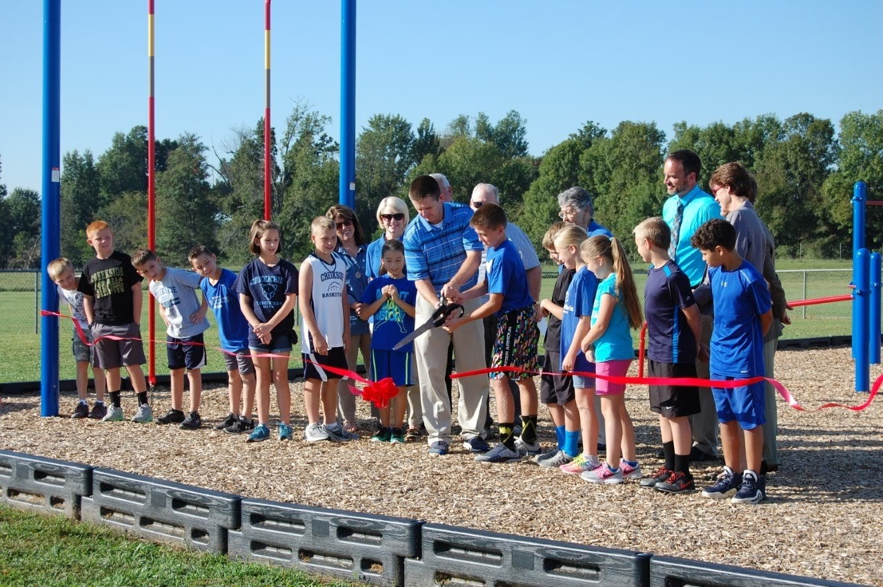 Ribbon cutting ceremony for Creekside's Project Fit Playground