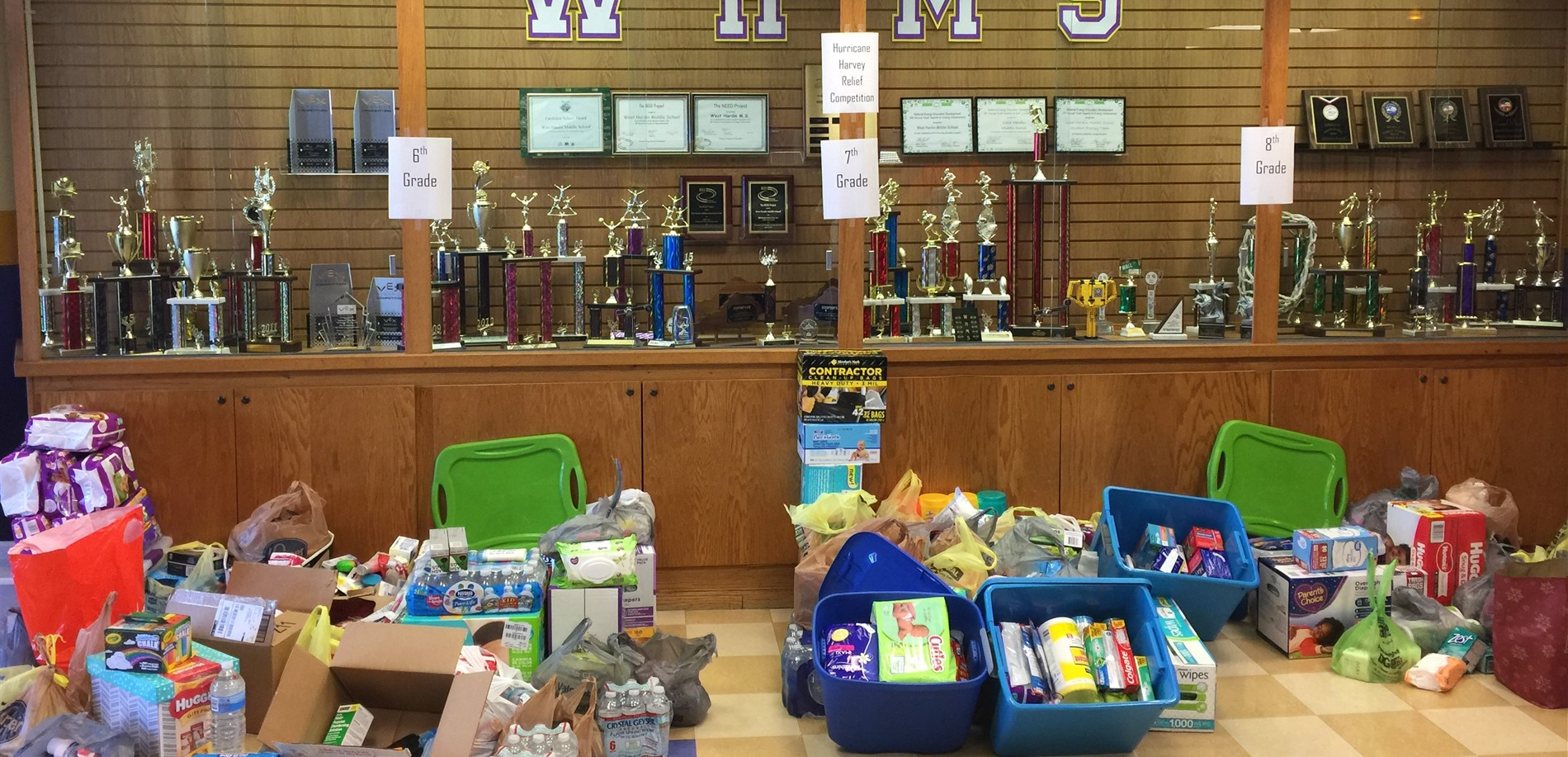 West Hardin Middle School students collected supplies for hurricane relief efforts.