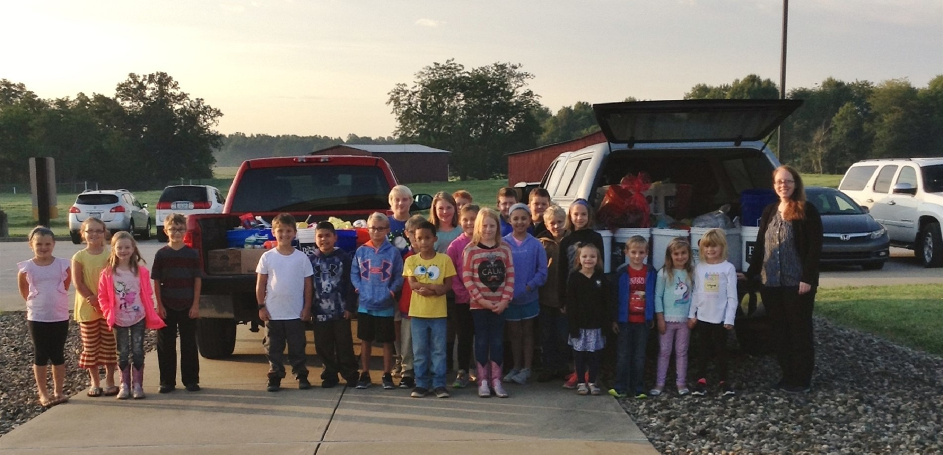 Creeskside Elementary School students filled two truck beds with supplies for Hurricane Harvey relief.