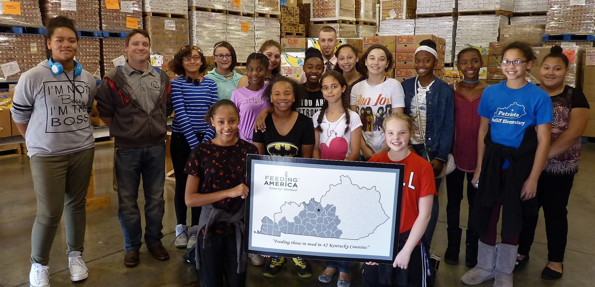 The North Middle School girls basketball team volunteered at Feeding America.