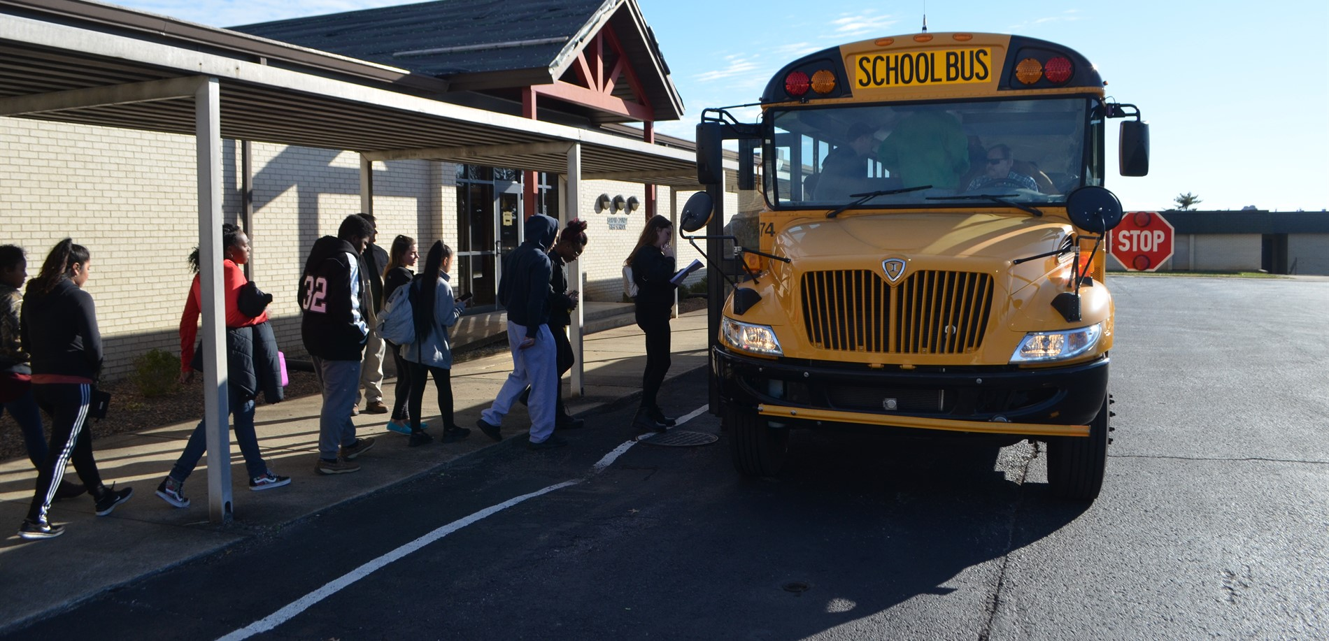 HCS students board a bus to work each day at UPS in Louisville.