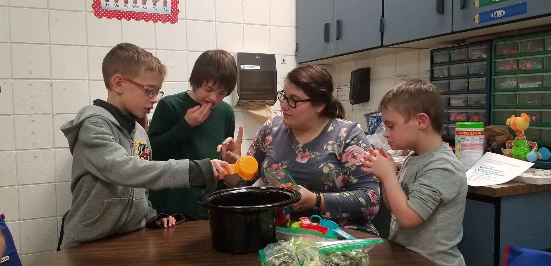 Students in Ms. Childers' class make stone soup after reading the book.