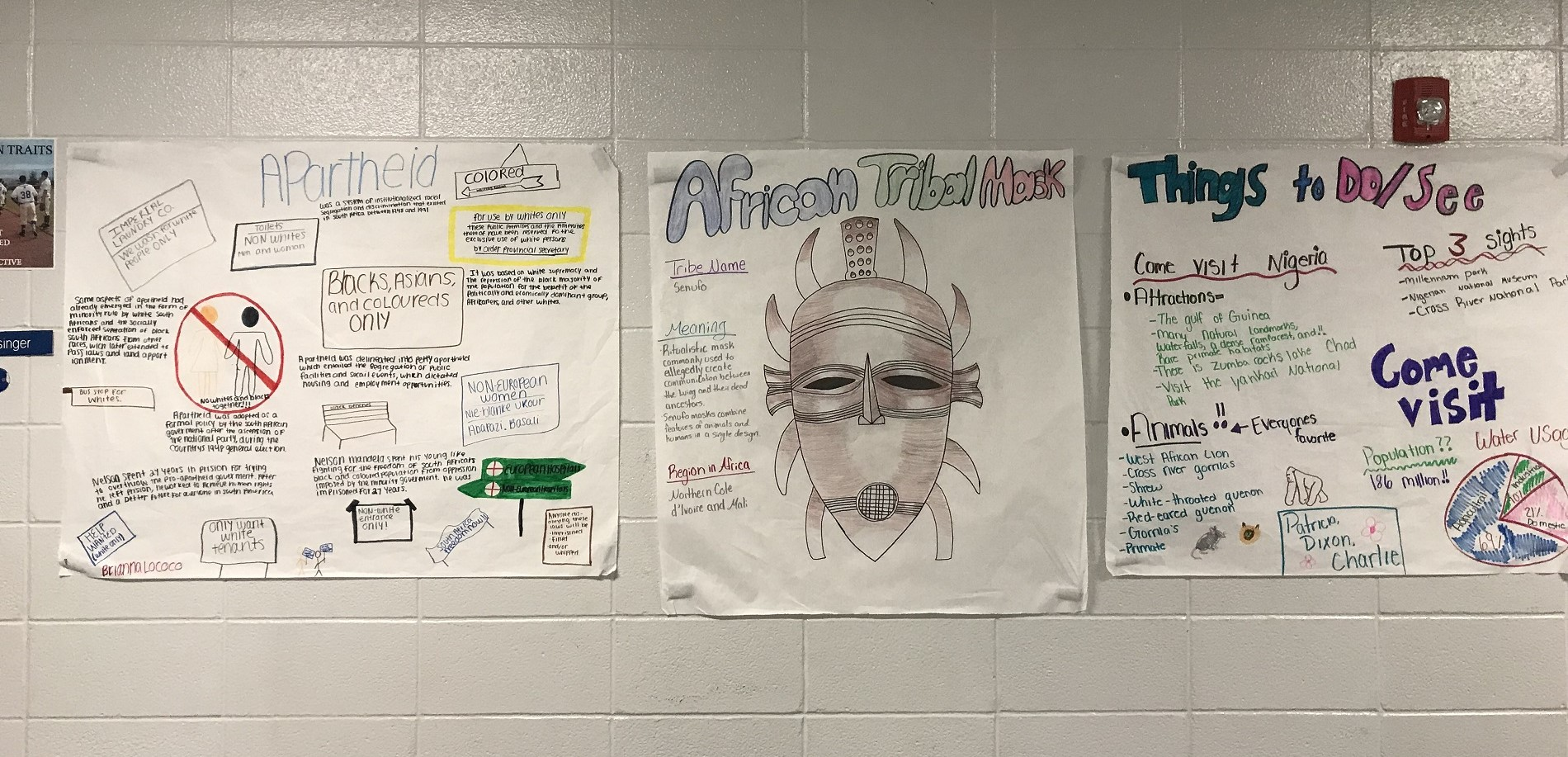 Student work in the hallway