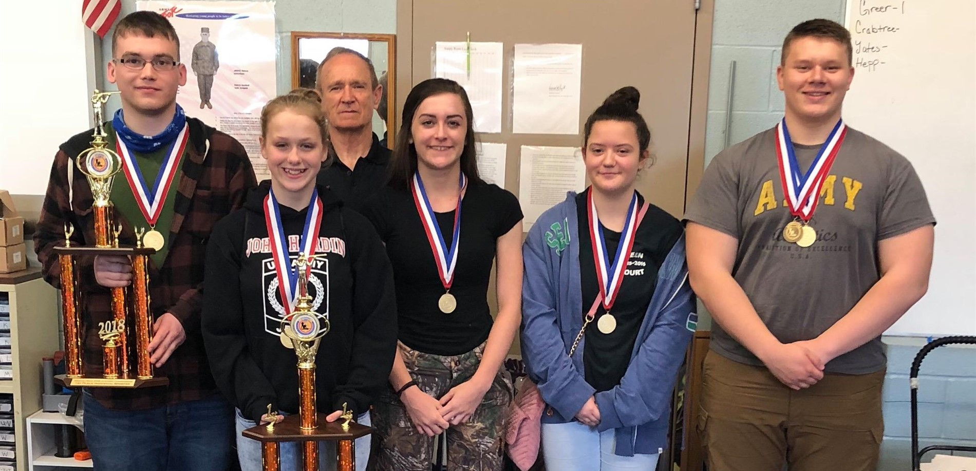 The John Hardin High School JROTC Air Rifle Team earned 1st Place at the USA Junior Olympics Three Position Air Rifle Match for Kentucky.