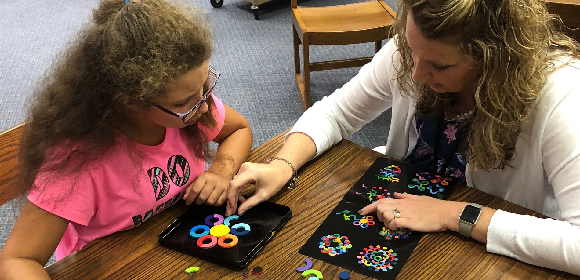 Teacher and Student making patterns together in the Makerspace