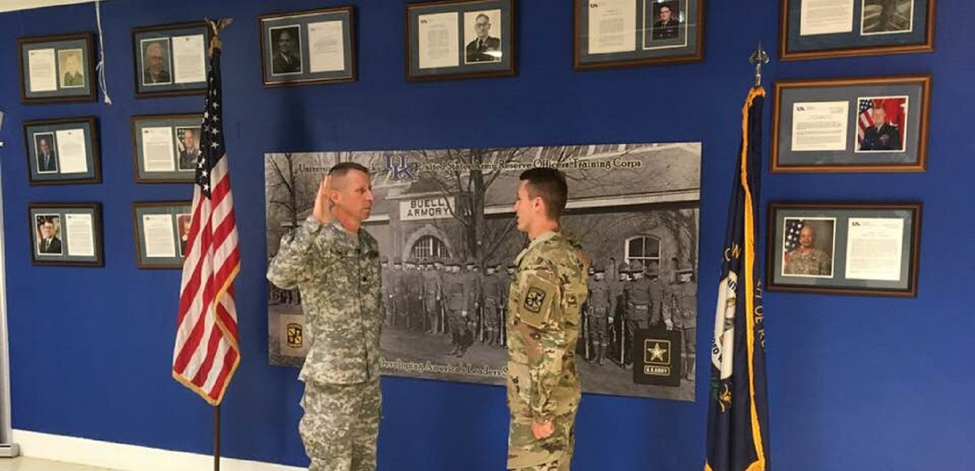 Colonel Fowler is honored to swear in his son Keith, former NHHS student, into the ARMY  ROTC program.