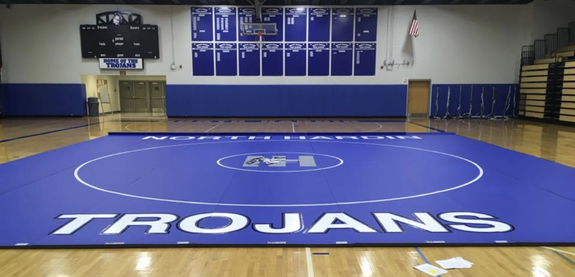 North Hardin Trojans gym and wrestling mat