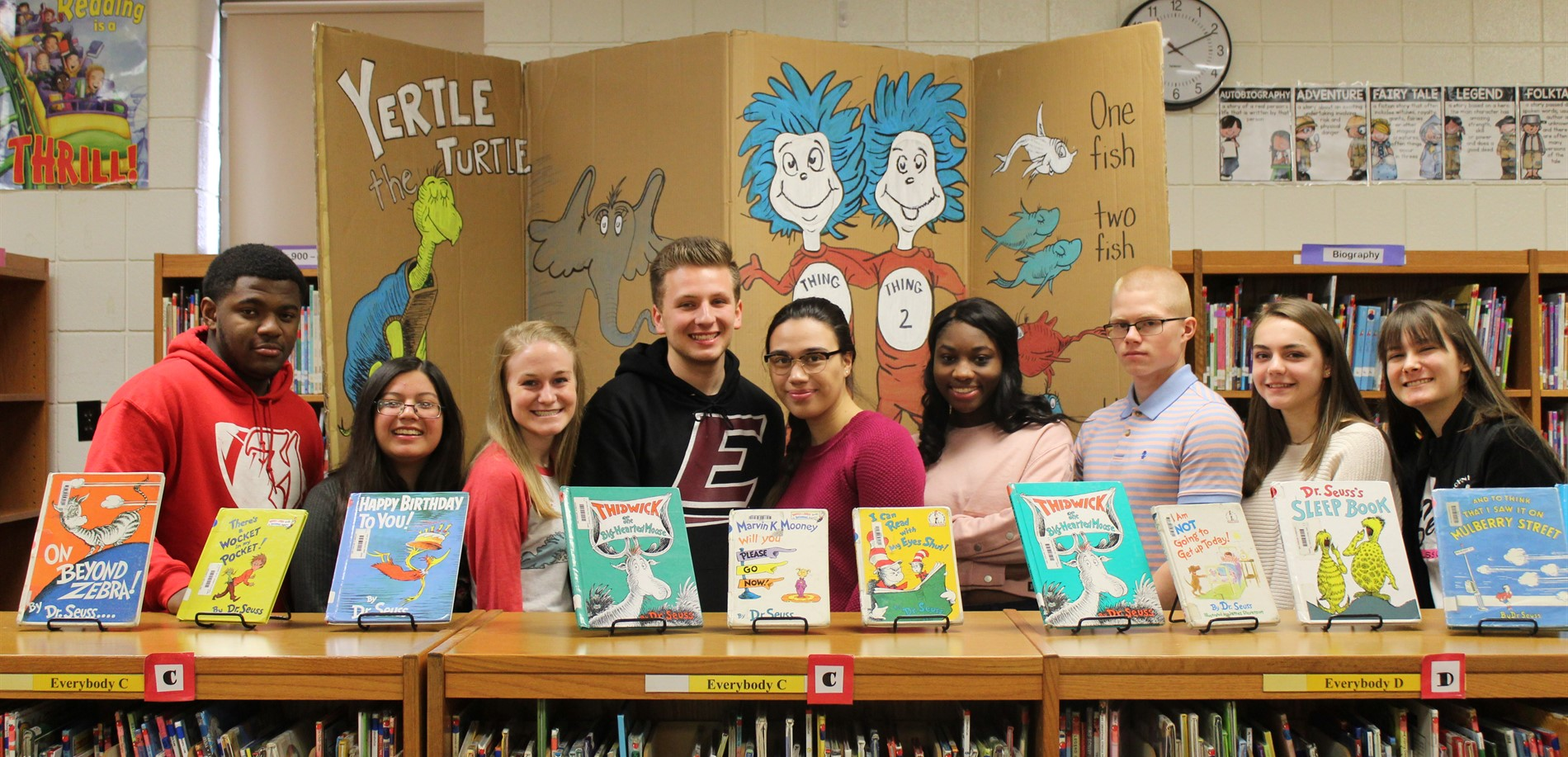 JHHS students visit New Highland Elementary during Read Across America Week