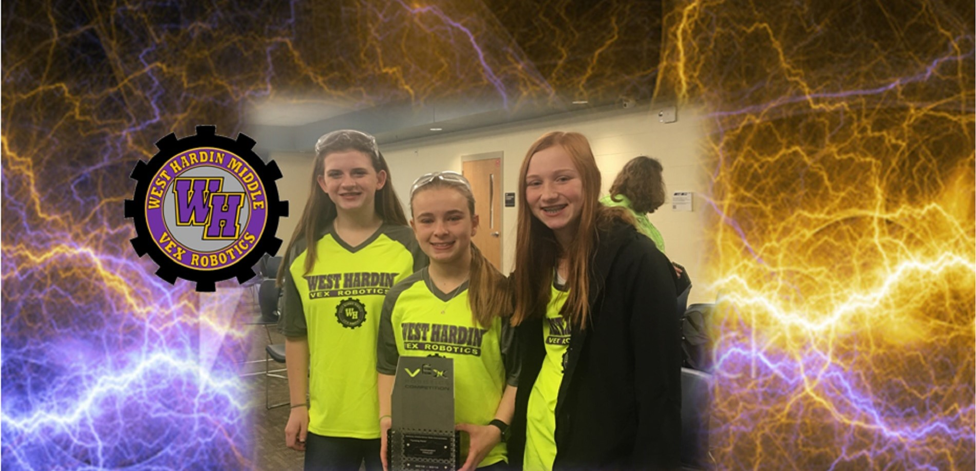 Team 4431A (L-R: Megan Puckett, Briley Robbins & Gracie Tilley) Earn Runner-Up Honors at the 2019 KY Middle School VEX Robotics State Championship!