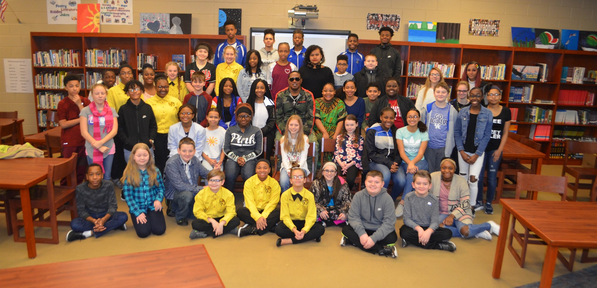 Entertainer Master P visited with some North Middle School students before a Black History Month event.