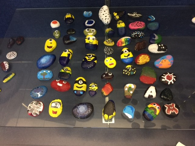 Art students had great fun painting the rock of their choice!