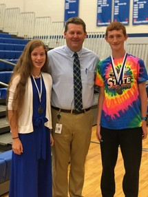 Ella Scherer & Gabe Russell, 8th Grade Student Athletes of the Year (w/ Principal K. Estes)
