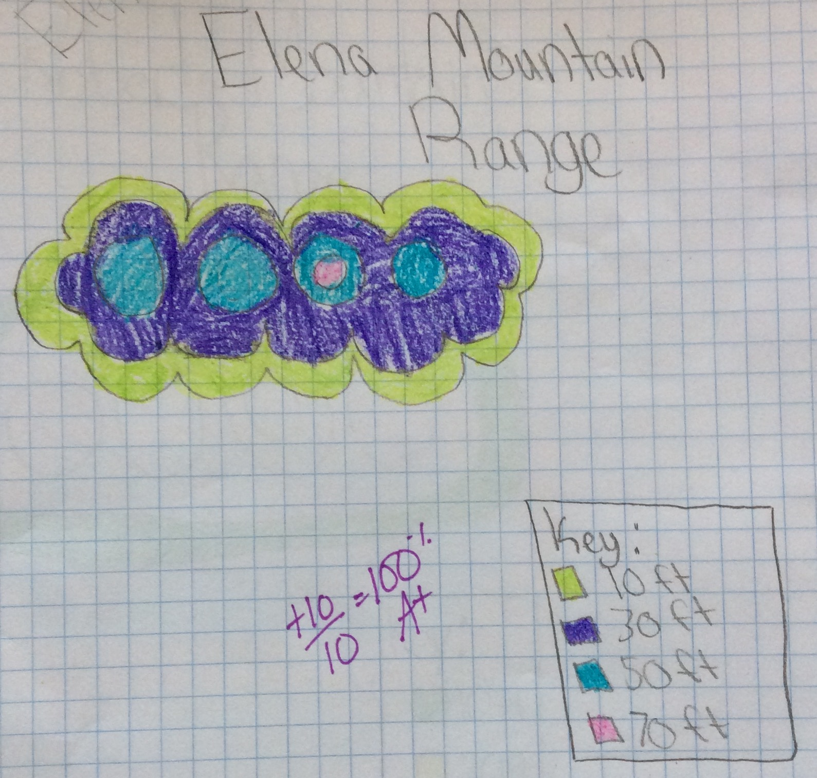 Elena created her topography map based on the shapes of her hand.
