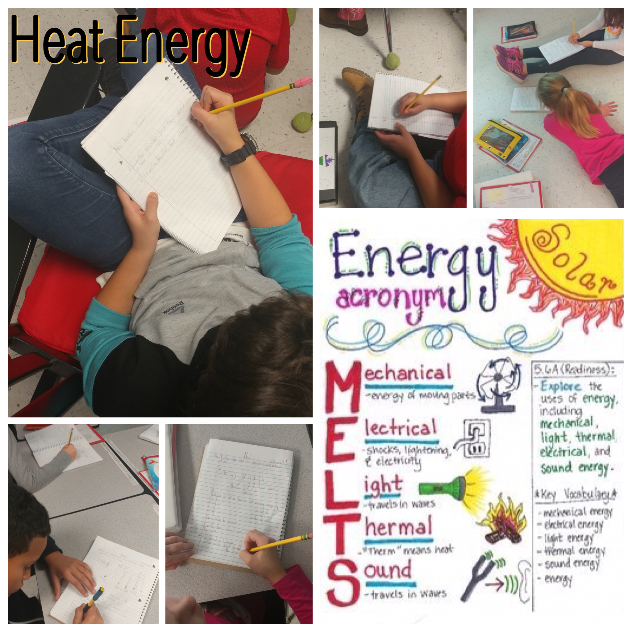 Students take notes while learning about different forms of energy. Use the acronym: Energy M.E.L.T.S!!